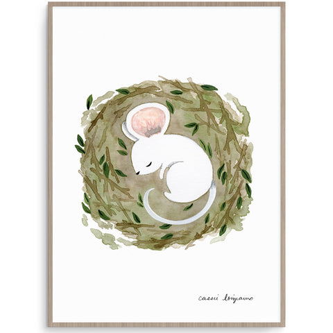 Sleeping Mouse Nursery Art