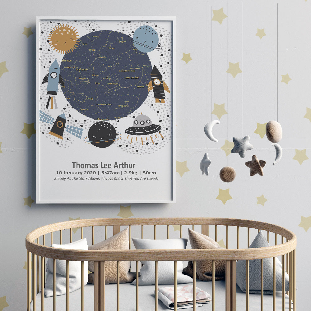 Star Map Space Birth Print