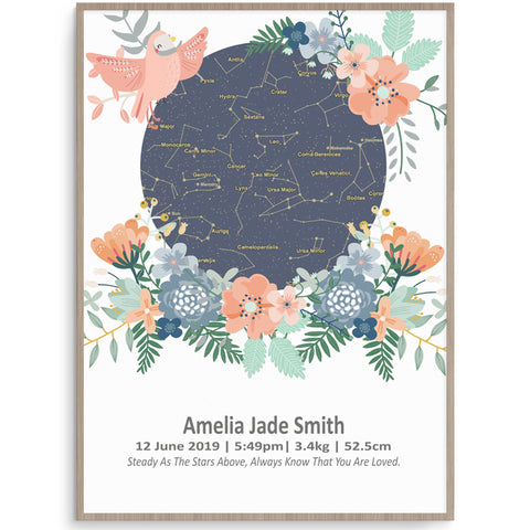 Star Map Spring Garden Birth Print
