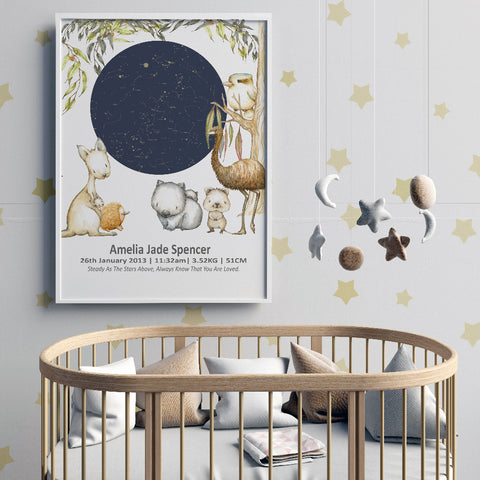 Night Sky Star Map Birth Print  With Australian Animals
