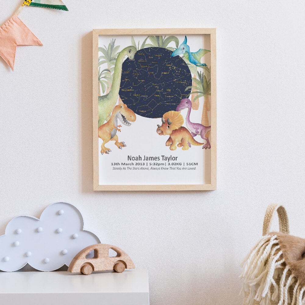 Star Map Dinosaur Birth Print