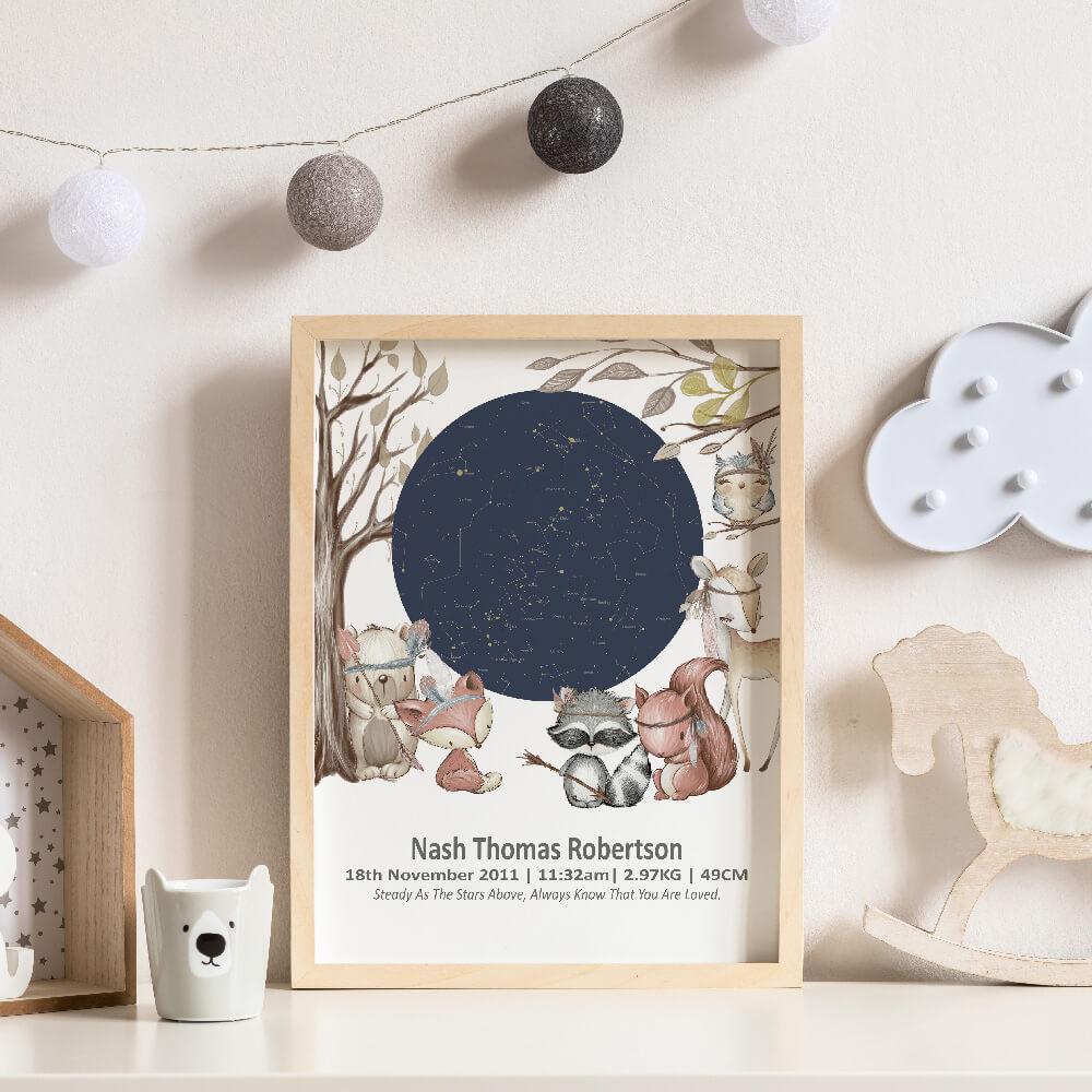 Woodland Animals Star Map Birth Print Framed