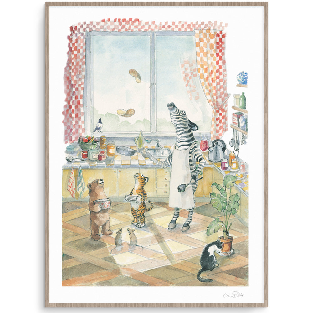 Sunday Breakfast Animal Watercolour Print