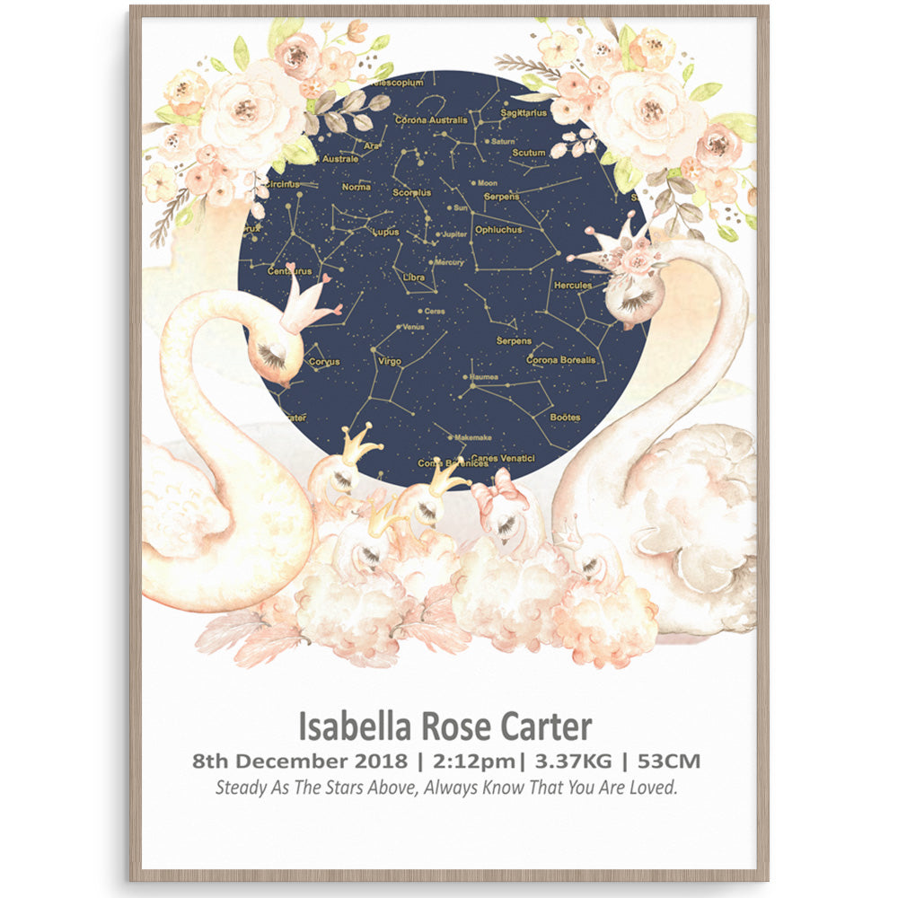 Swan Night Sky Star Map Birth Print