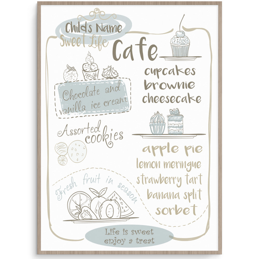 Sweet Life Cafe - Kids Play Cafe Print Blue