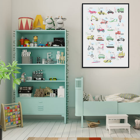 Big Transport Alphabet Poster For Boys Room