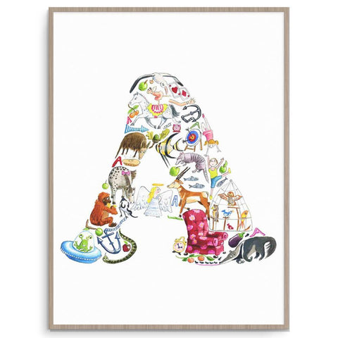 Louise Tate Alphabet Art A Is For... nursery art kids wall art