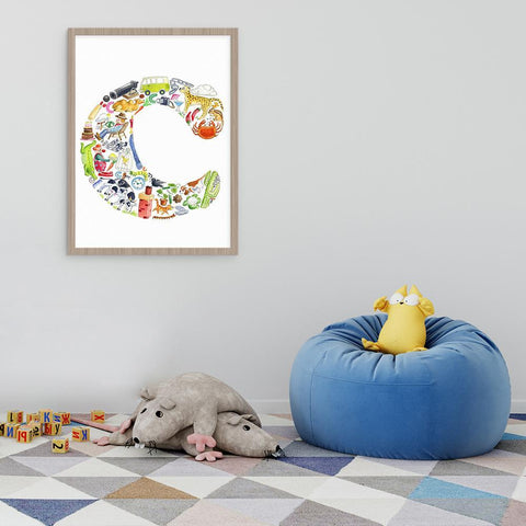 Personalise Your Childs Room Or Nursery With A Letter C Print