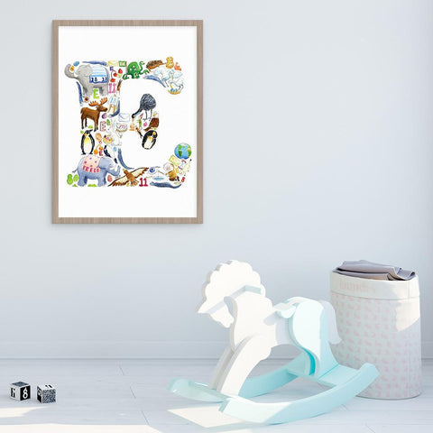 Letter E Personalised Kids Wall Art