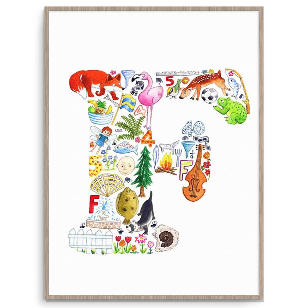 Letter F Initial Wall Art Print For Kids Rooms And Nurseries