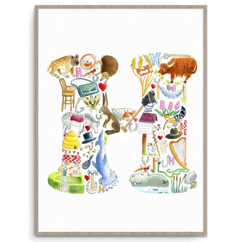 Louise Tate Alphabet Art H Is For... nursery art kids wall art