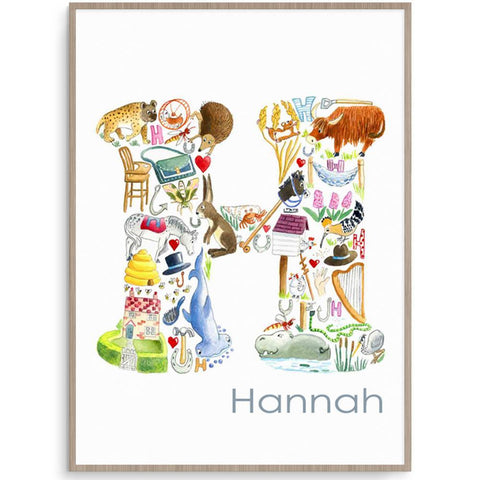 Personalised Letter H Kids Room Wall Art