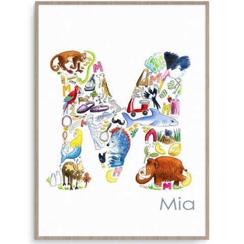Personalised Letter M Initial Print For Children's Rooms