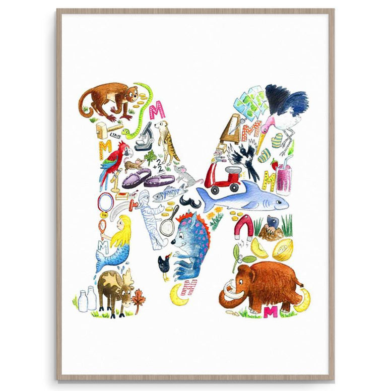 Louise Tate Alphabet Art M Is For... nursery art kids wall art