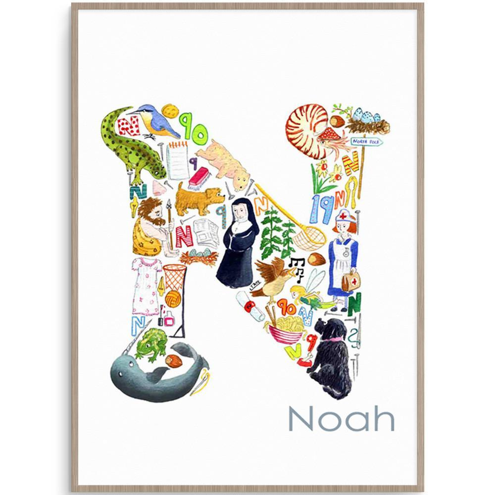 Letter N Nursery Art And Kid Art Print