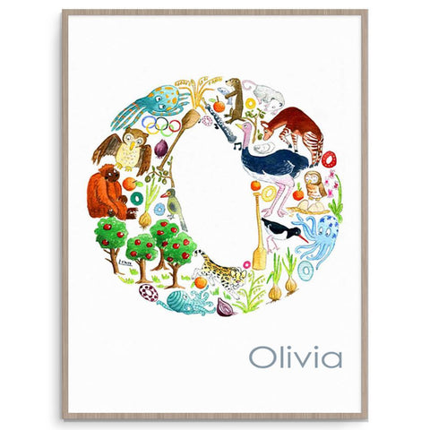 Nursery And Kids Room Personalised Letter O Poster Print