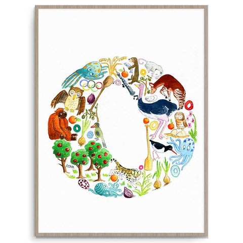 Nursery And Kids Room Letter O Poster Print