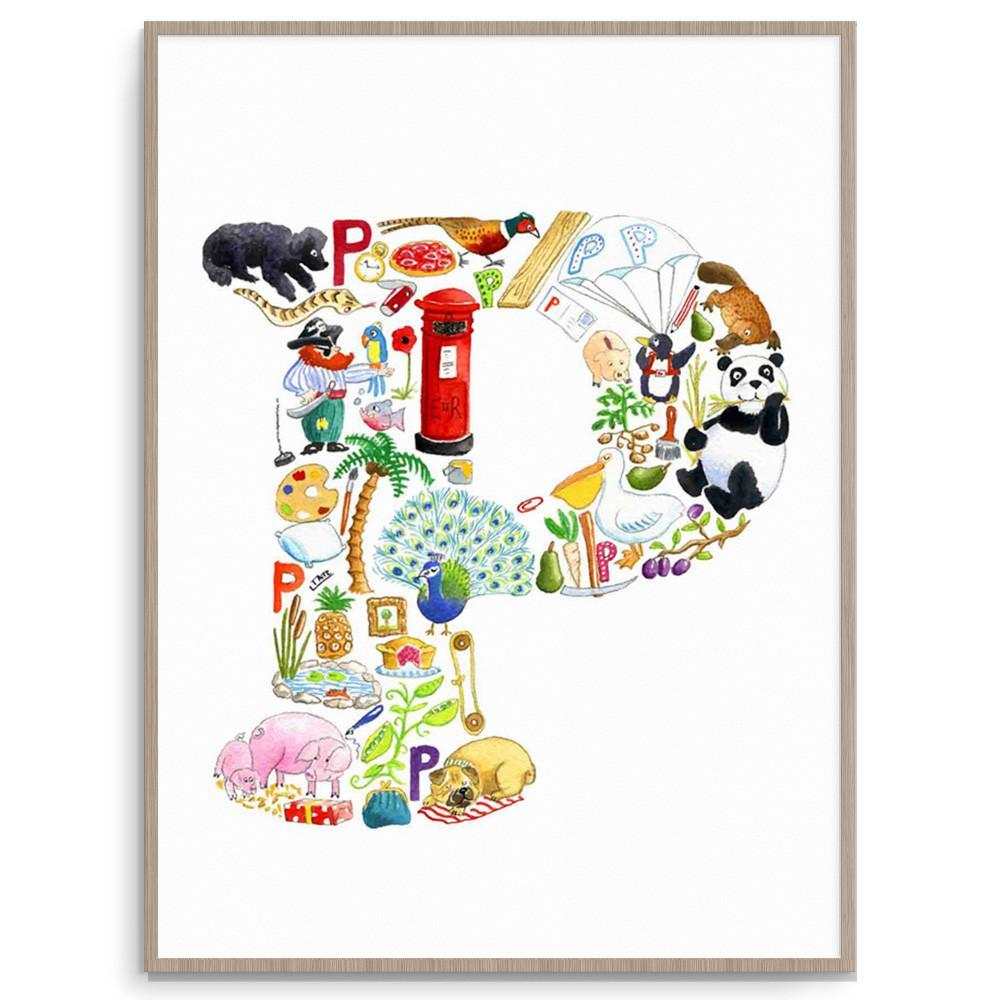 Nursery Art Kids Wall Art Letter P Print