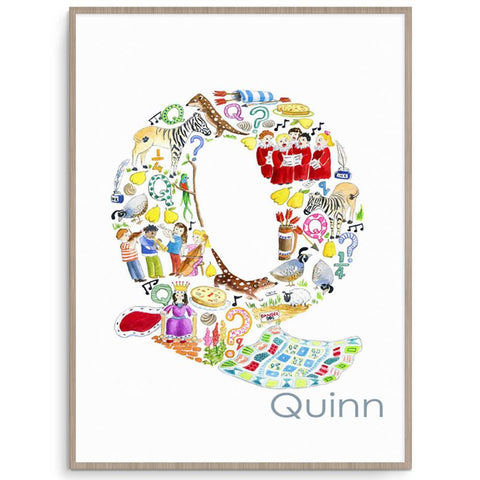 Nursery And Kids Wall Art Personalised Letter Q Print