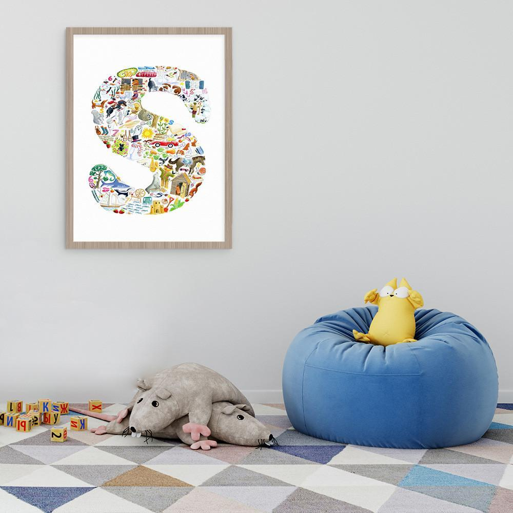 Nursery Art Kids Wall Art Letter S Print