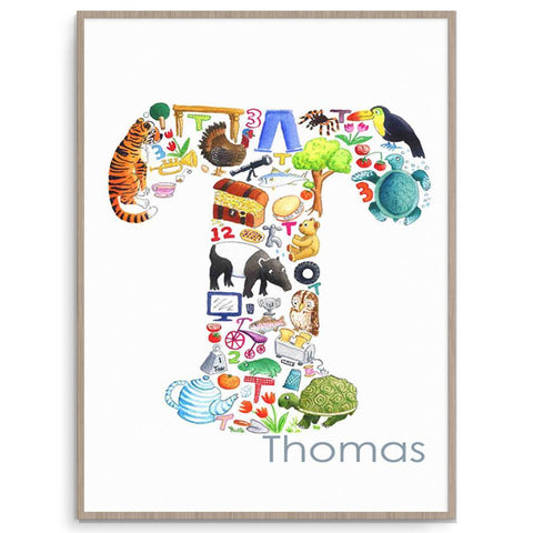 Personalised Letter T Intial Kids Wall Art