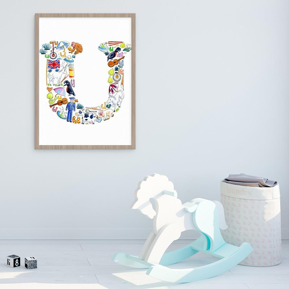 Letter U Wall Art For Children's Rooms And Nurseries