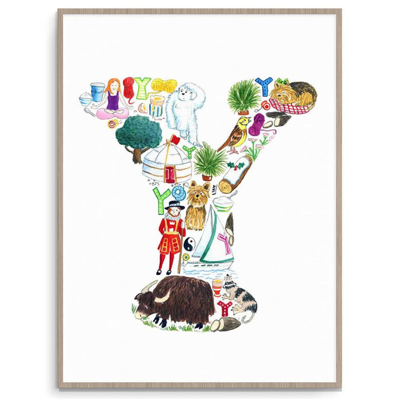 Letter Y Nursery Art And Kid Art Print