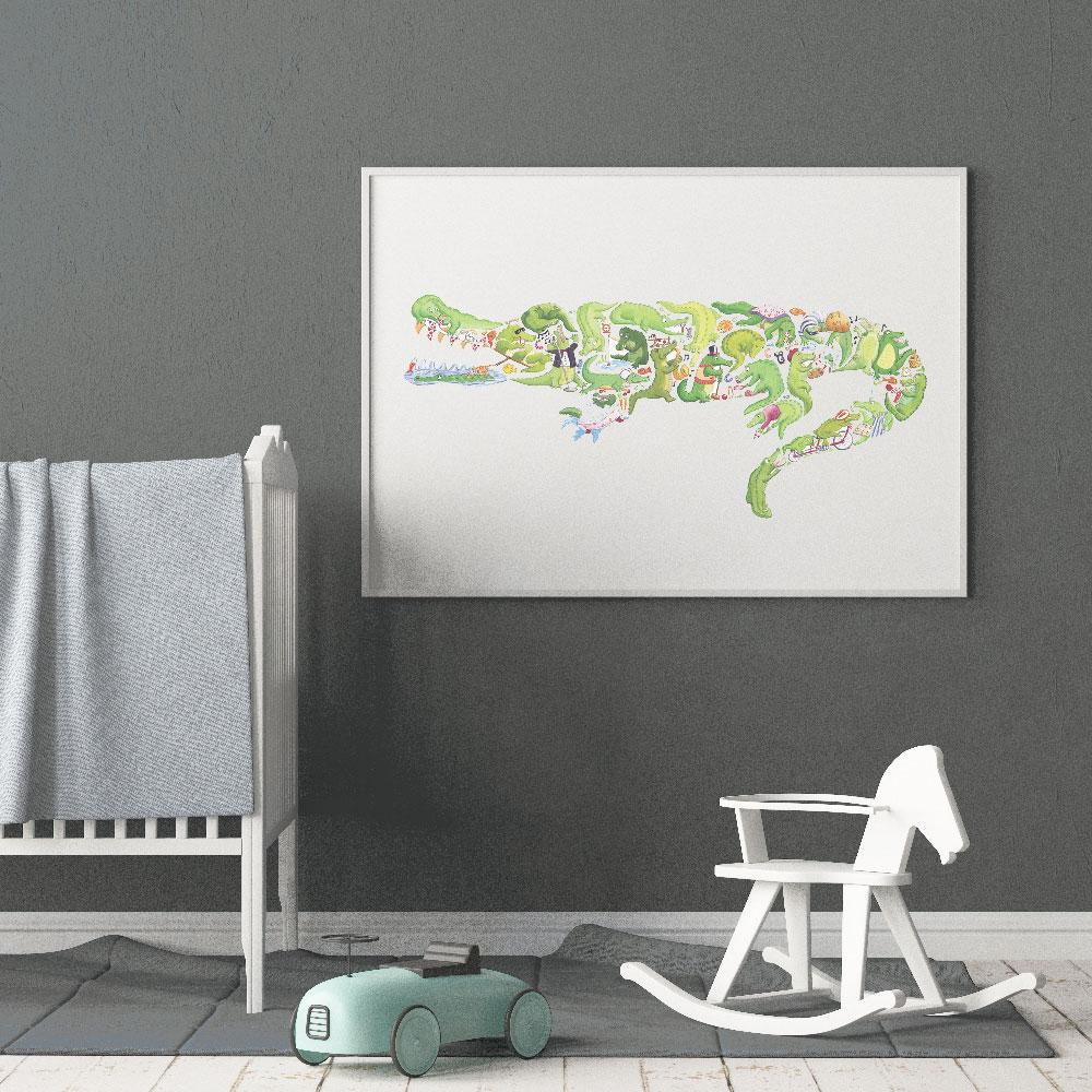 Boys Poster Print In Crocodile Design