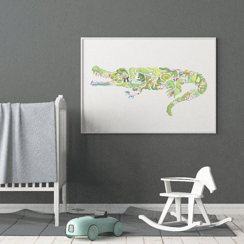 Snappy And Fun Crocodile Wall art For Kids