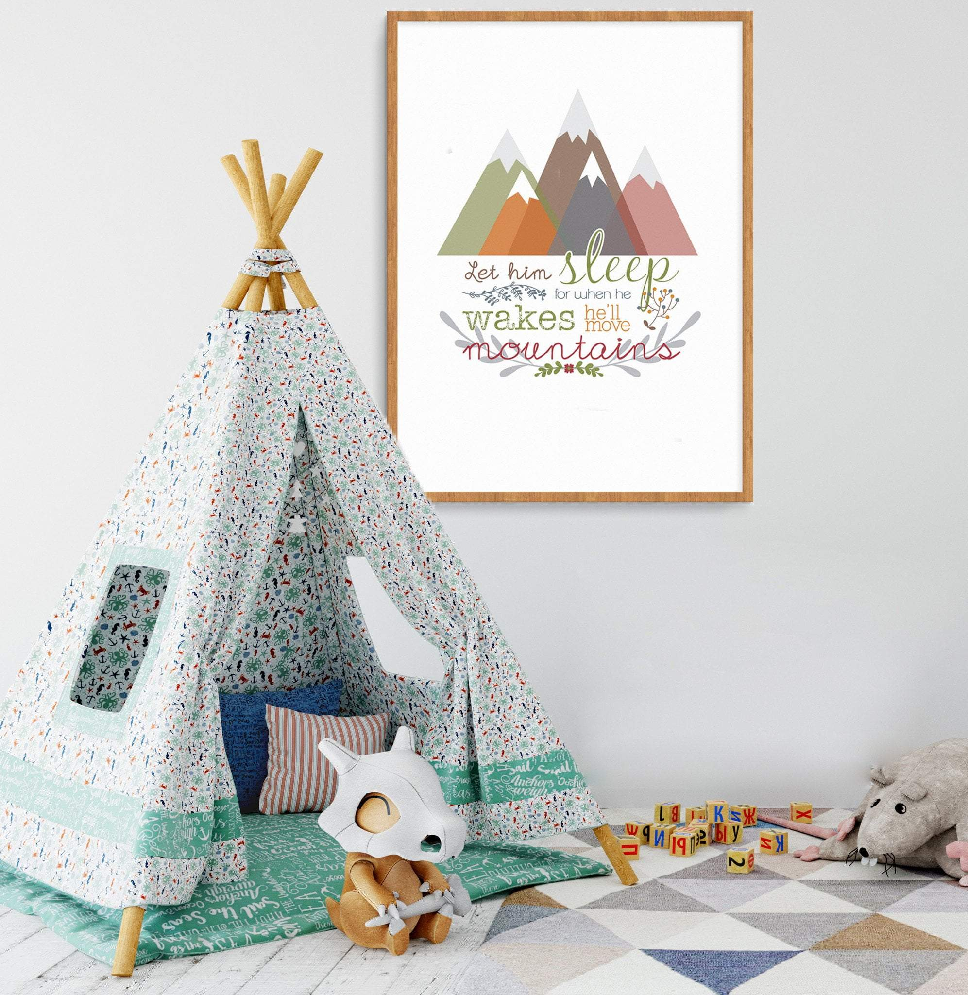 Llama Creations Boy Prints Move Mountains Boys nursery art kids wall art