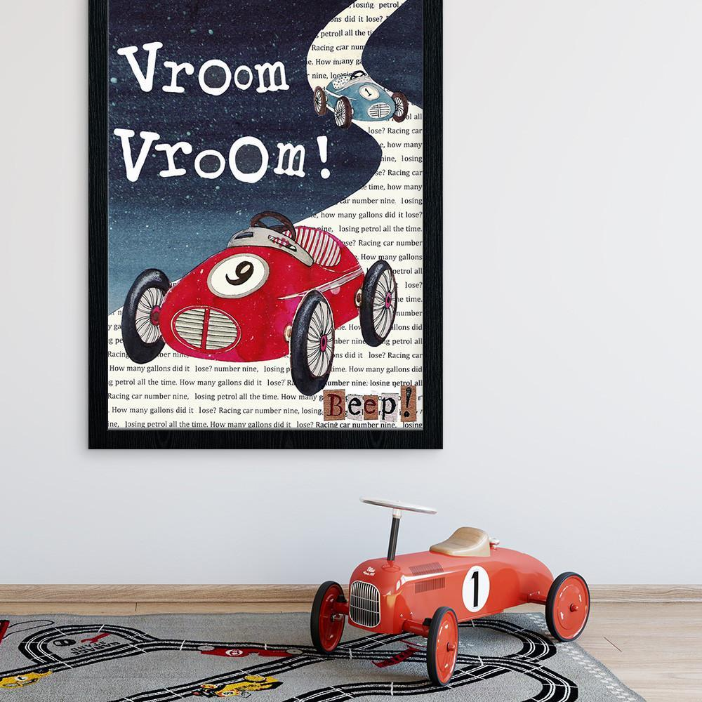 Vroom Car Nursery Print For Boys Room