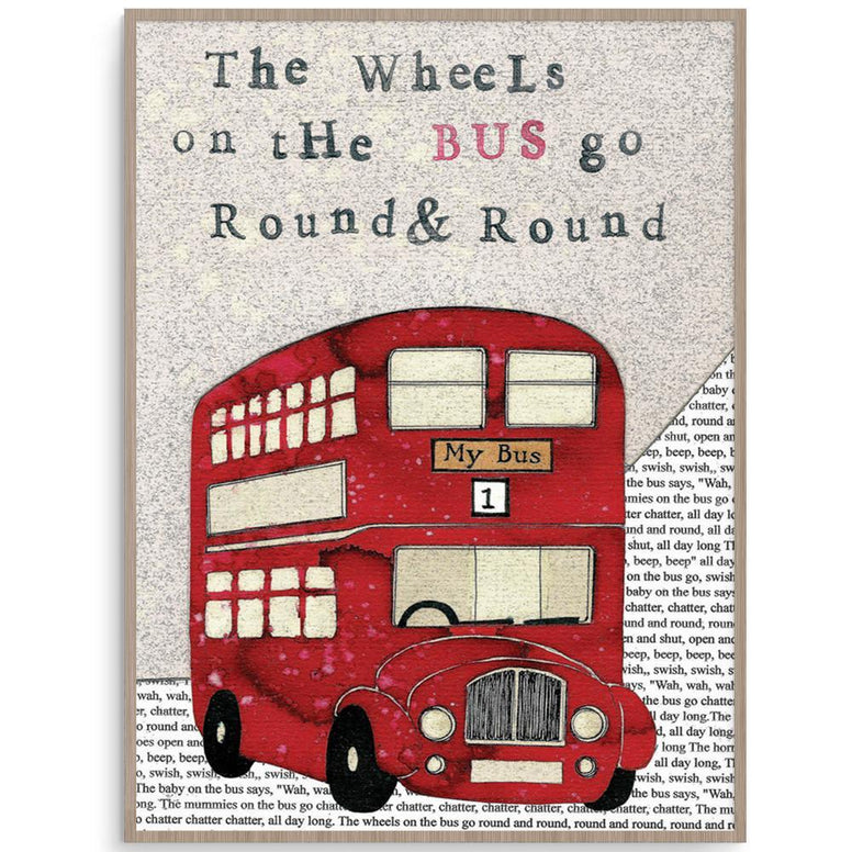 Wheels On The Bus Fun Nursery Rhyme Wall Art