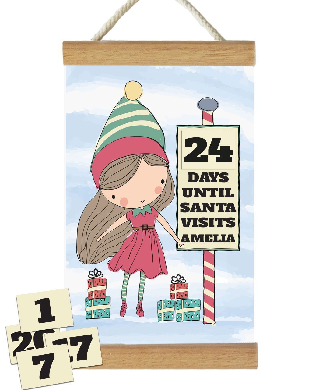 Fizzy Pop Designs Christmas Santa's Little Helper Countdown To Christmas Banner nursery art kids wall art