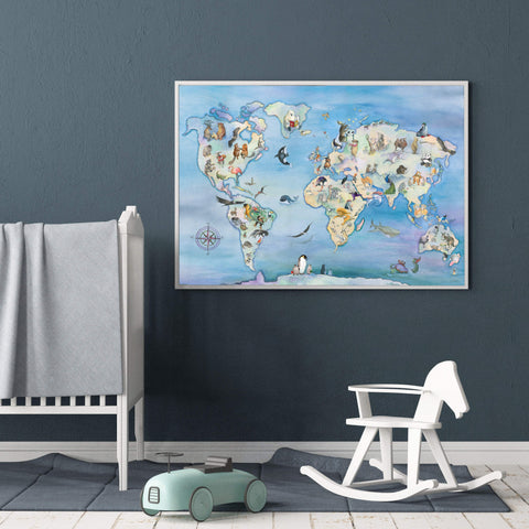 Wonderful Gender Neutral Animal World Map Poster For Kids Room
