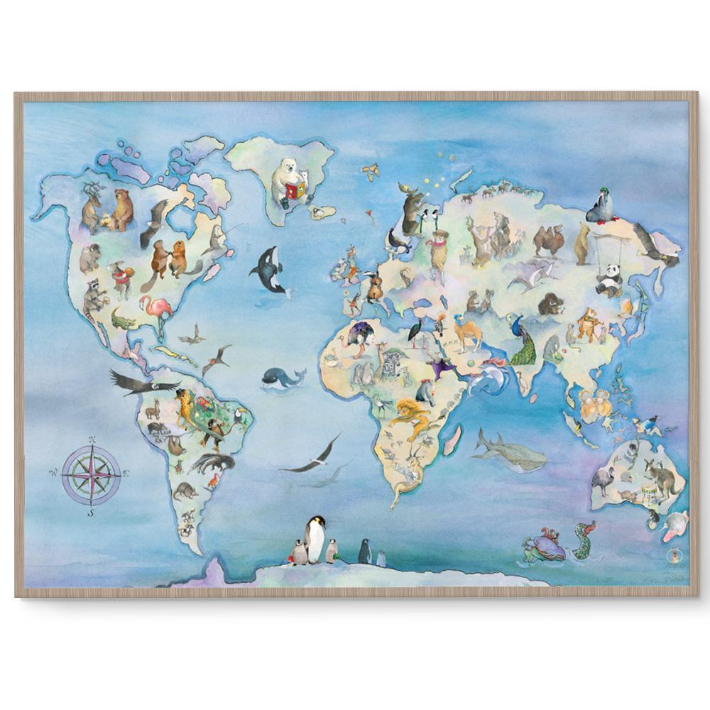 Wonderful Animal World Map Poster Print – Fizzy Pop Designs