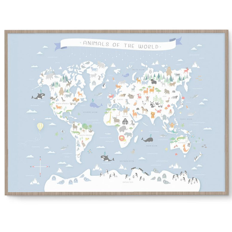 Llama Creations Gender Neutral Animals Of The World Print nursery art kids wall art