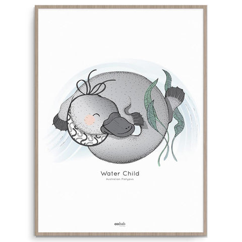 Water Child Platypus Australian Animal Wall Art