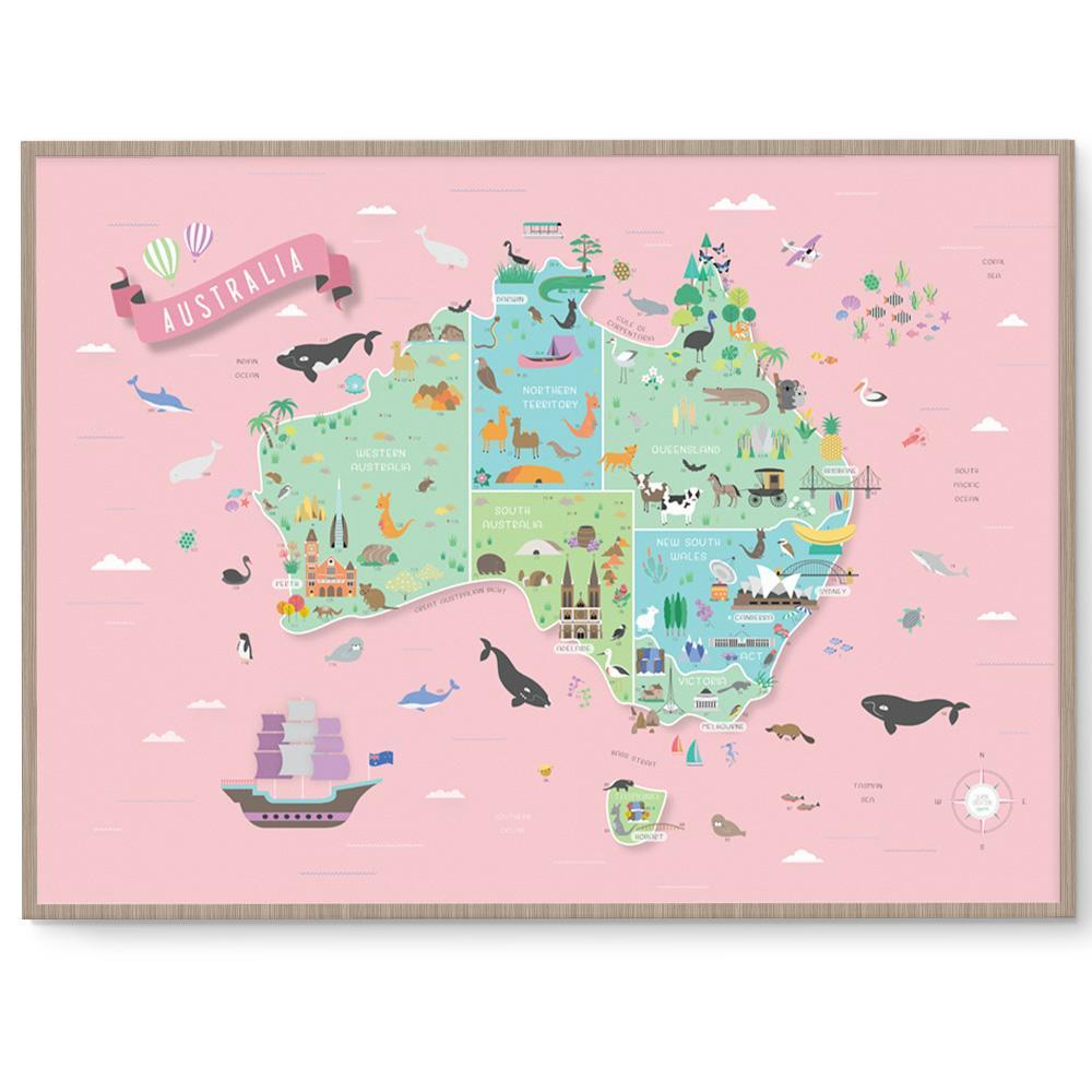 Australia Map Picture.Amazing Australia Map Nursery And Kids Room Print Fizzy Pop Designs