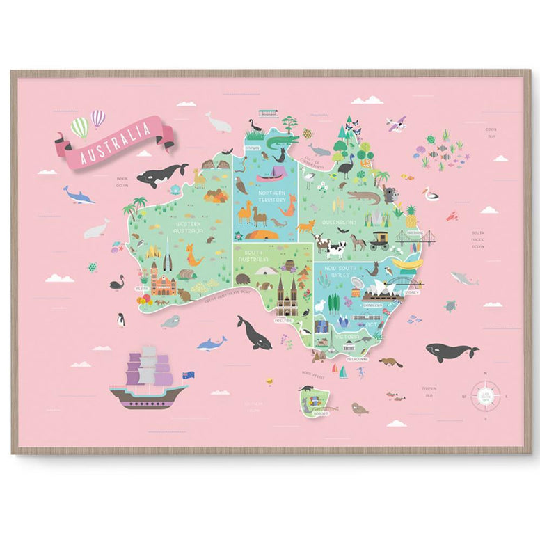 Llama Creations Gender Neutral Australia Map Print nursery art kids wall art