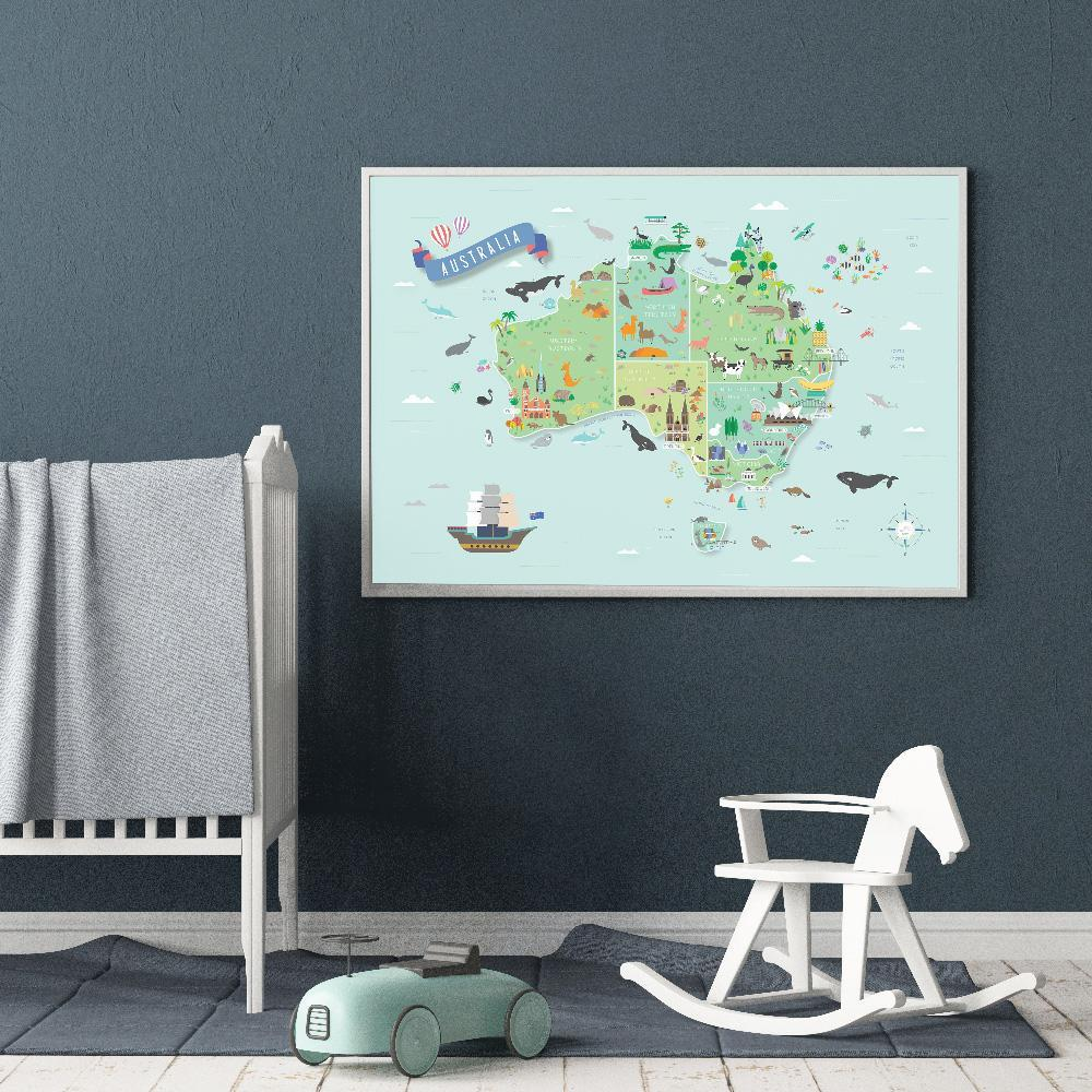 Fun Australia Map Poster For Kids Room