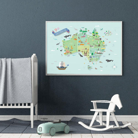 Australia Map Poster Perfect For Australian Themed Nursery