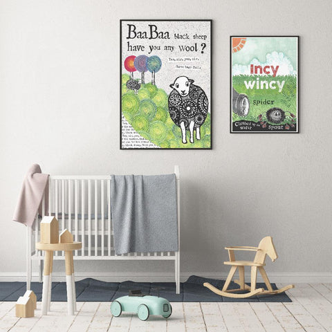 Helena Tyce Gender Neutral Baa Baa Black Sheep nursery art kids wall art
