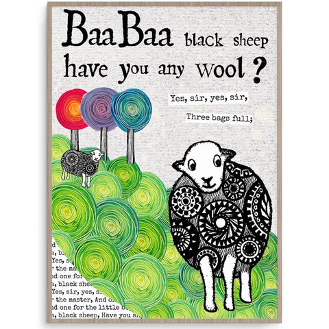 Gorgeous Baa Baa Black Sheep Wall Art Print