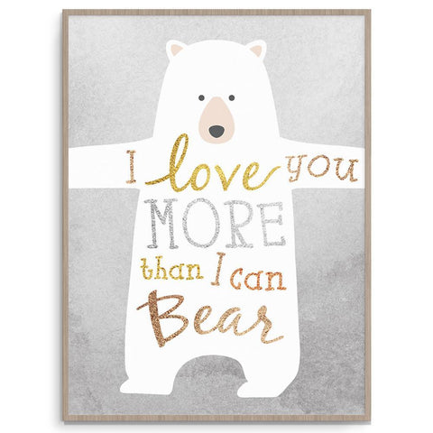 Llama Creations Gender Neutral Bear Love nursery art kids wall art
