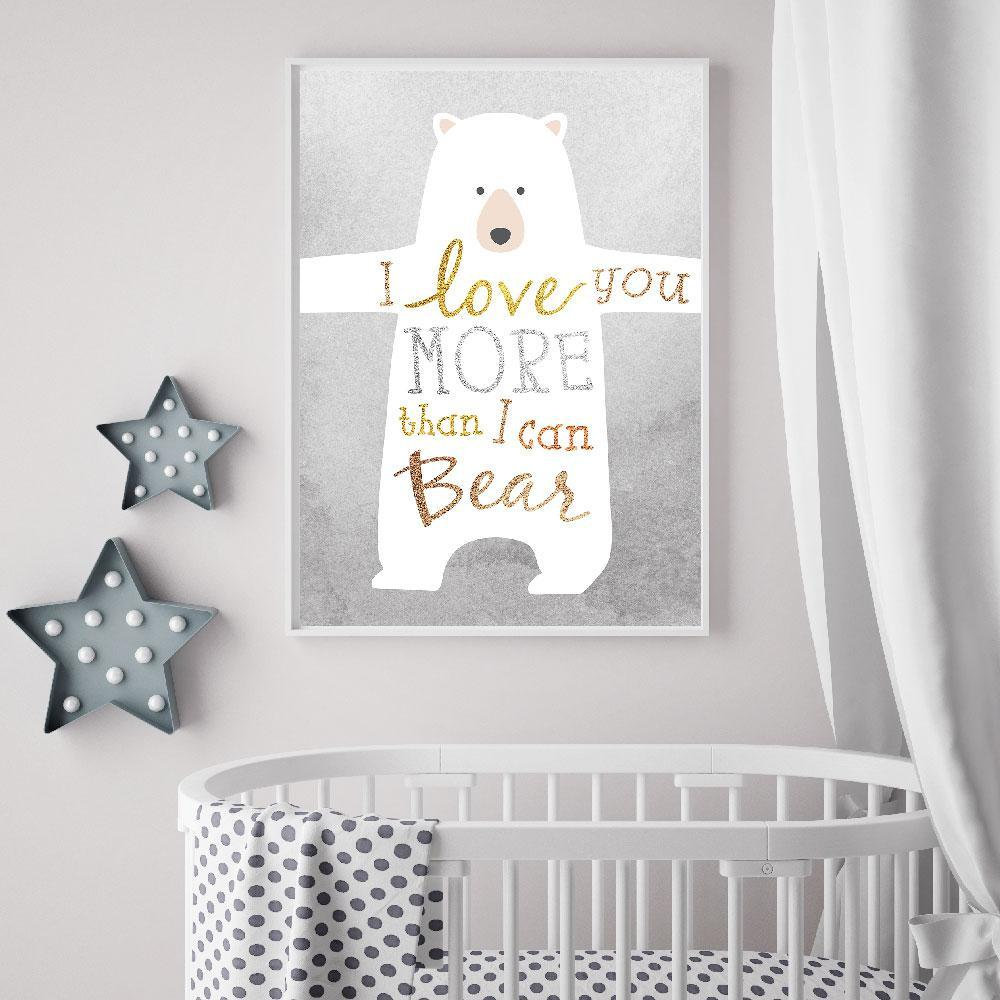 Looking For Gender Neutral Nursery Wall Art?  This Bear Love Design Is Perfect.