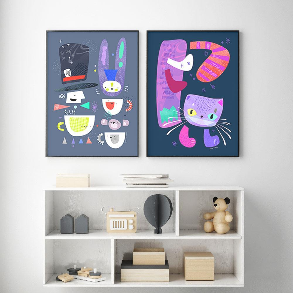 A Fun Duo - Cheshire Cat And Mad Hatter Kids Wall Art