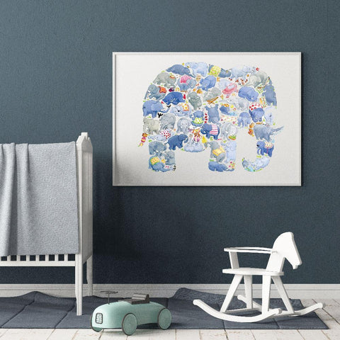 Louise Tate Gender Neutral Elephant nursery art kids wall art