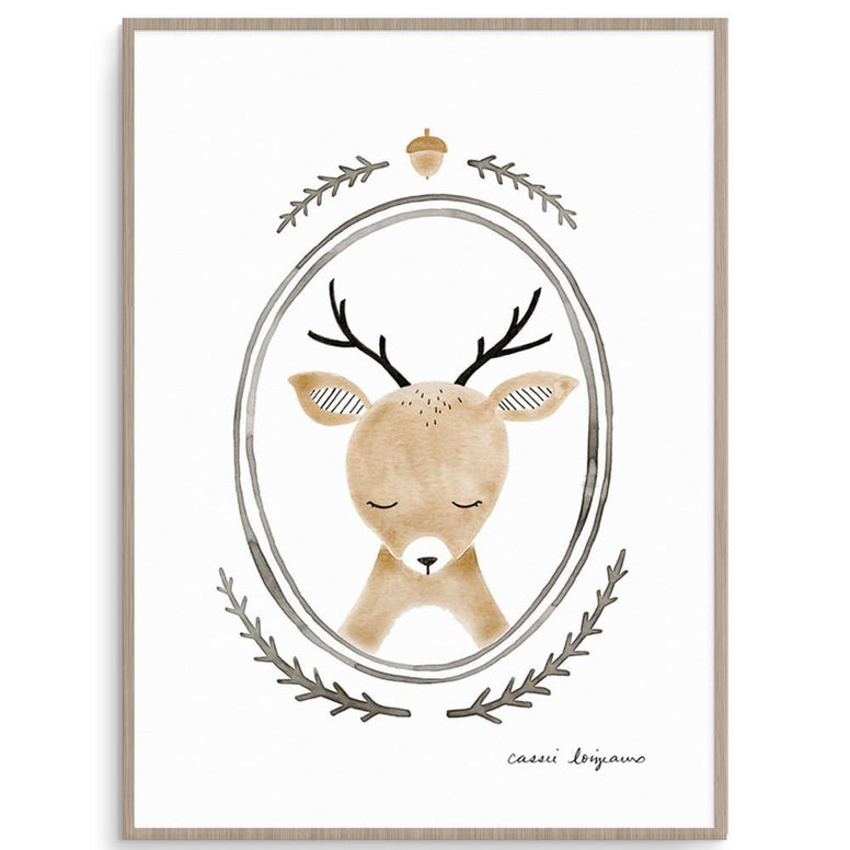 Cassie Loizeaux Gender Neutral Forest Portrait - Deer nursery art kids wall art