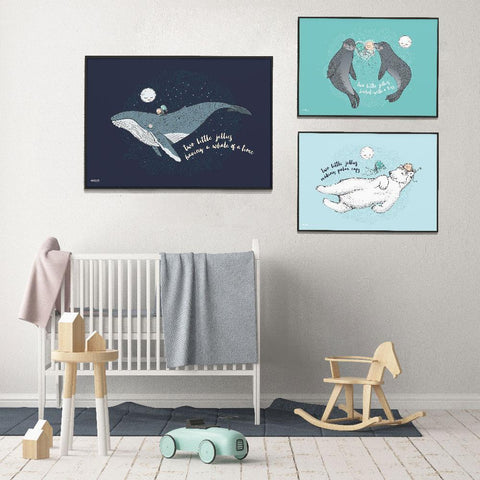 Co:Hab Designs Gender Neutral Jellies Having A Whale Of A Time nursery art kids wall art