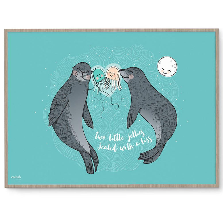 Co:Hab Designs Gender Neutral Jellies Sealed With A Kiss nursery art kids wall art